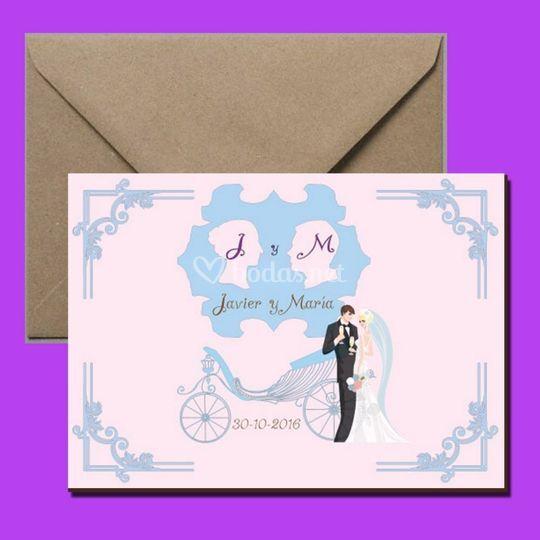 Invitación de boda romantica