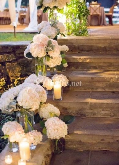 Decoración con hortensias