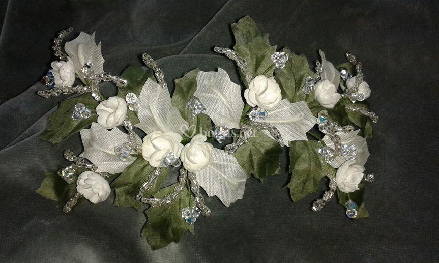 Tocado novia, flotres, hojas