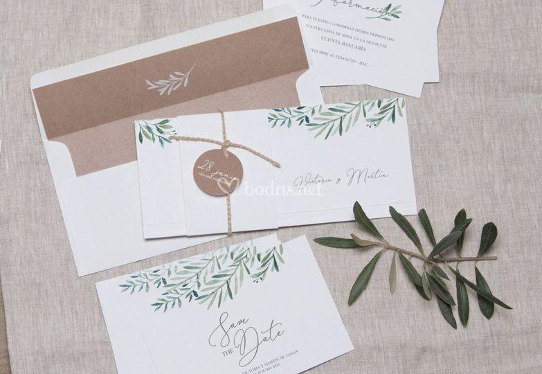 Invitación de boda - olivo