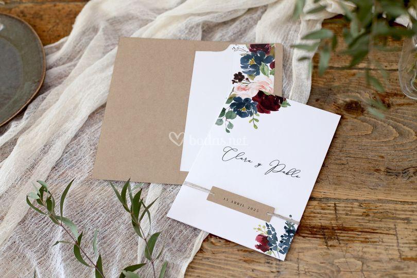 Invitación de boda rustica