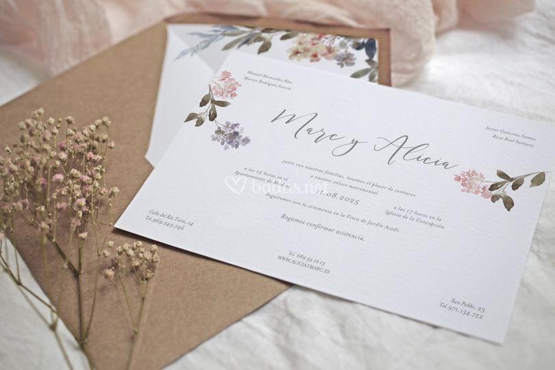 Tarjetón de boda
