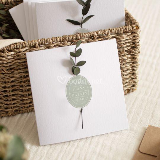 Invitación de boda con hojas