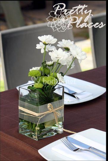 Centro floral de margaritas