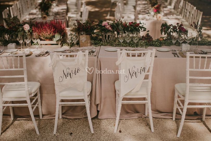 Detalle mesa de novios