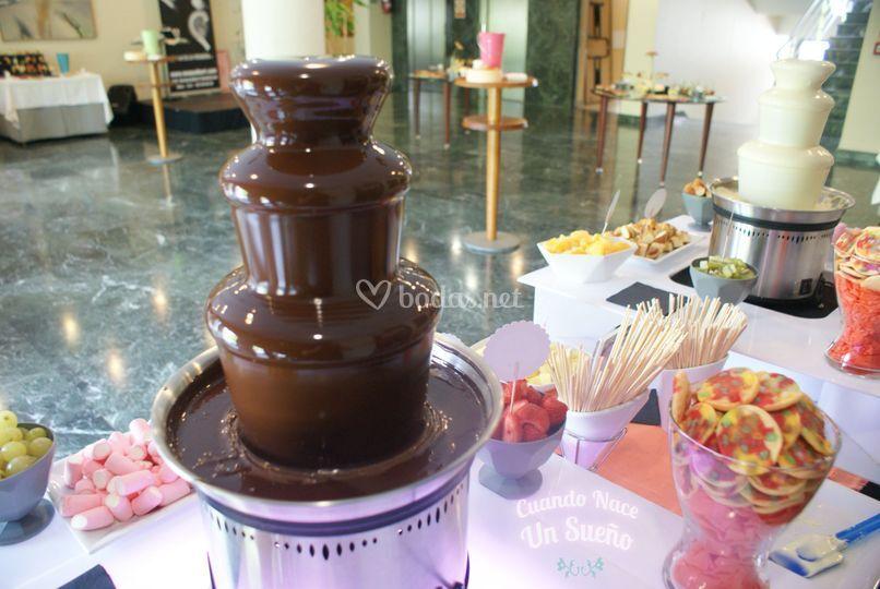 Fuentes de chocolate únicas