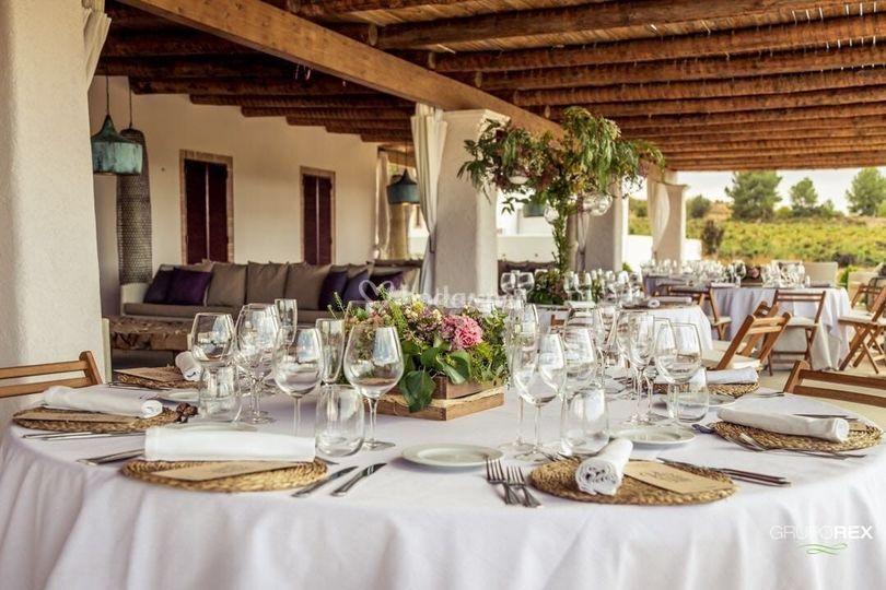 Montaje de boda en el porche