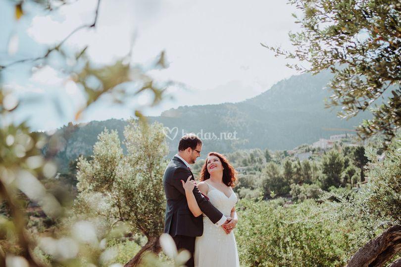 Novios boda rural