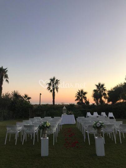 Ceremonia con puesta de sol