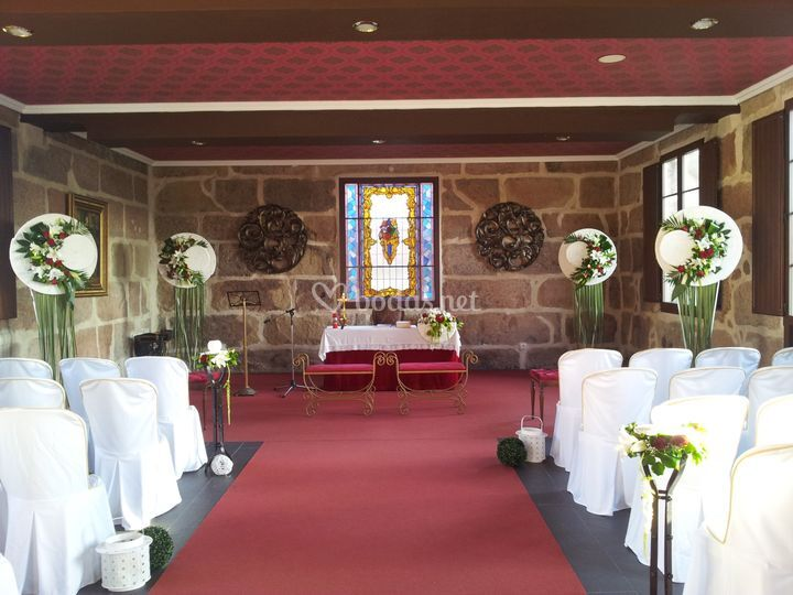 Salón de pazo, decoración floral