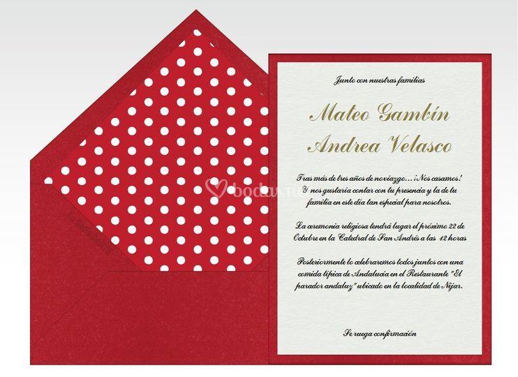Invitación de boda lunares