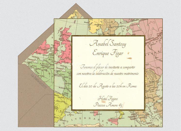 Invitación de boda mapa