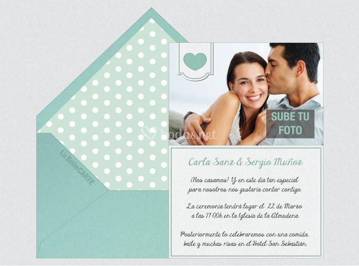Invitación de boda corazon