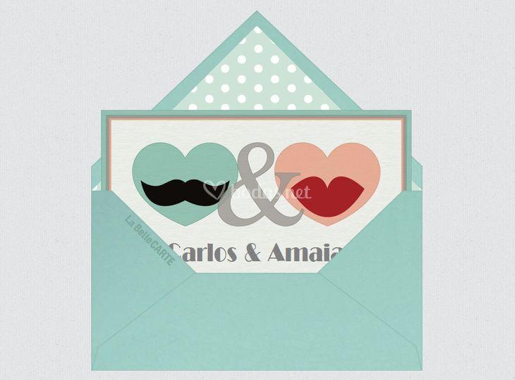 Invitación de boda corazones