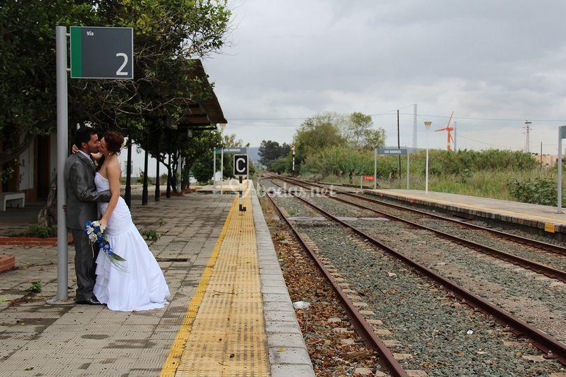 En las vías de tren