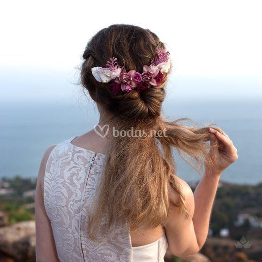 Semicorona Ada (flores de tela)
