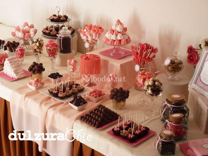Candy bar en rosa y chocolate