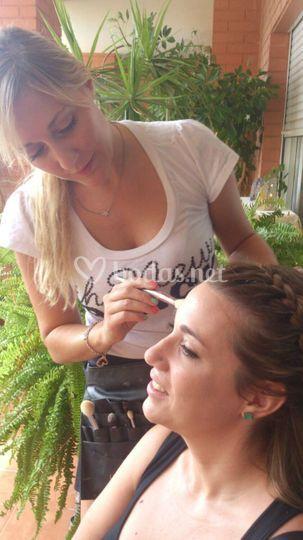 Maquillando para una prueba