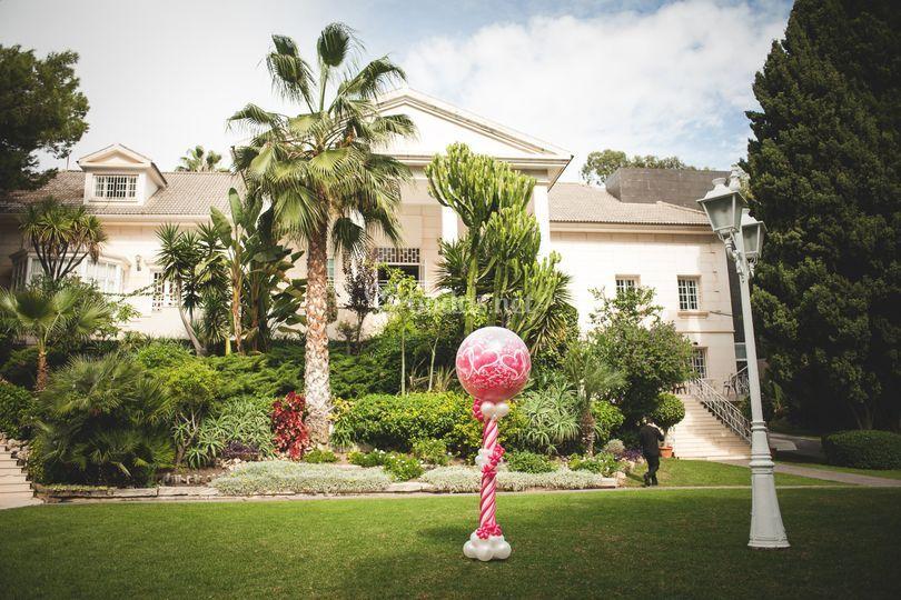 Decoración con globos jardines