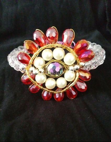Pulsera cristal y perlas
