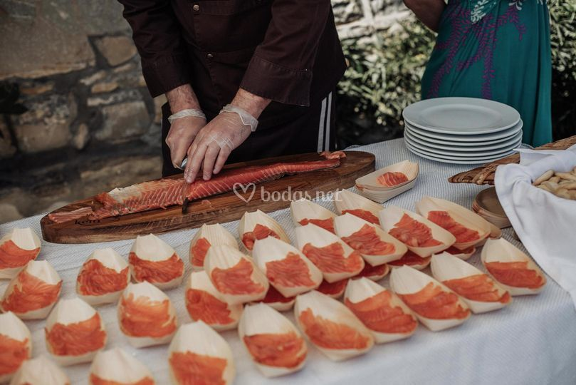 Corte de salmón ahumado