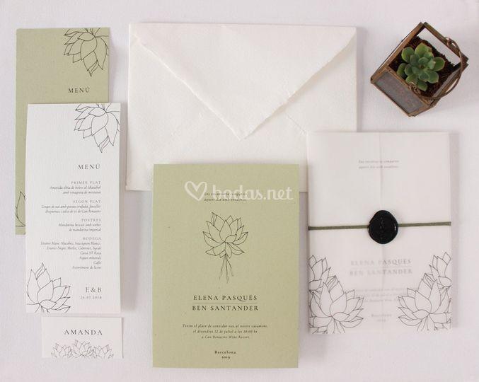 Papelería de boda sostenible