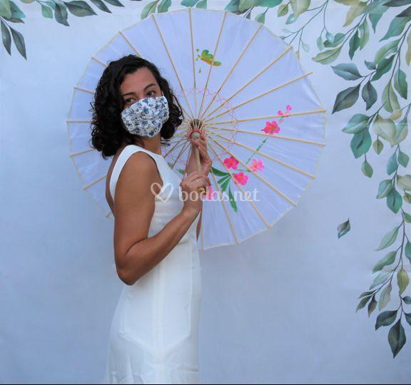 Fotomatón novia con mascarilla