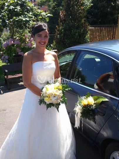 Ramo de novia y coche