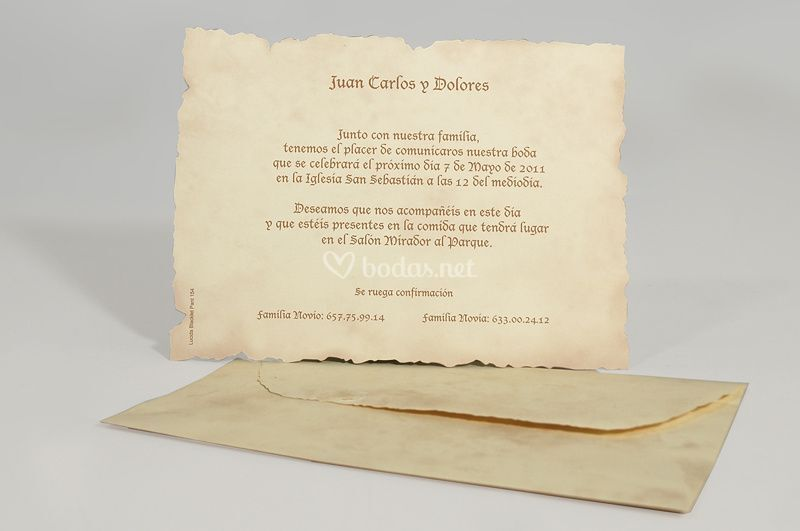 Invitación y sobre vintage