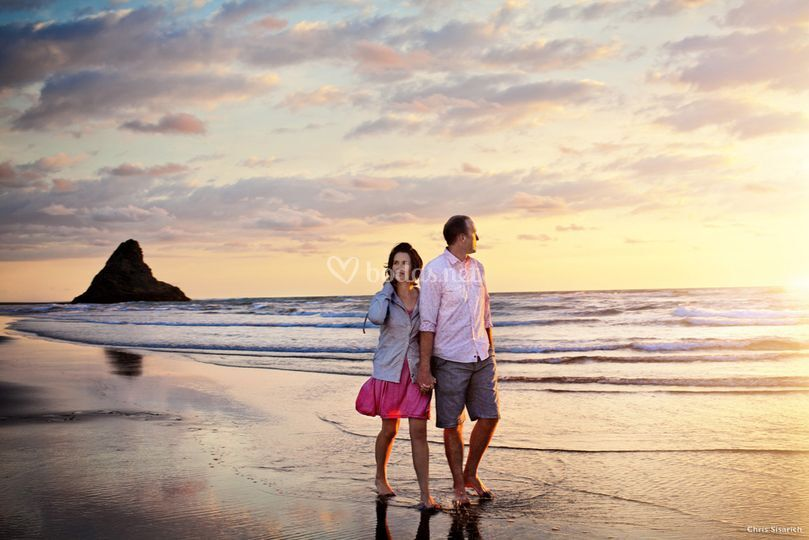 Sunset at Piha Beach, Auckland