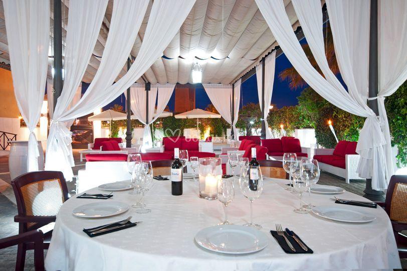 Banquetes en la terraza