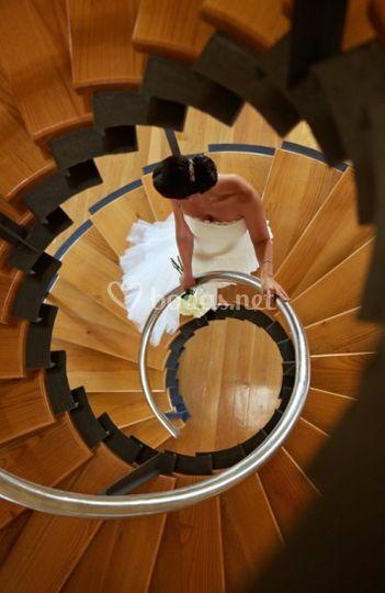 Novia en escalera de caracol