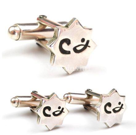 Gemelos de estrella octogonal con mensaje