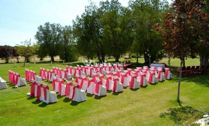 Ceremonia con lazo fucsia