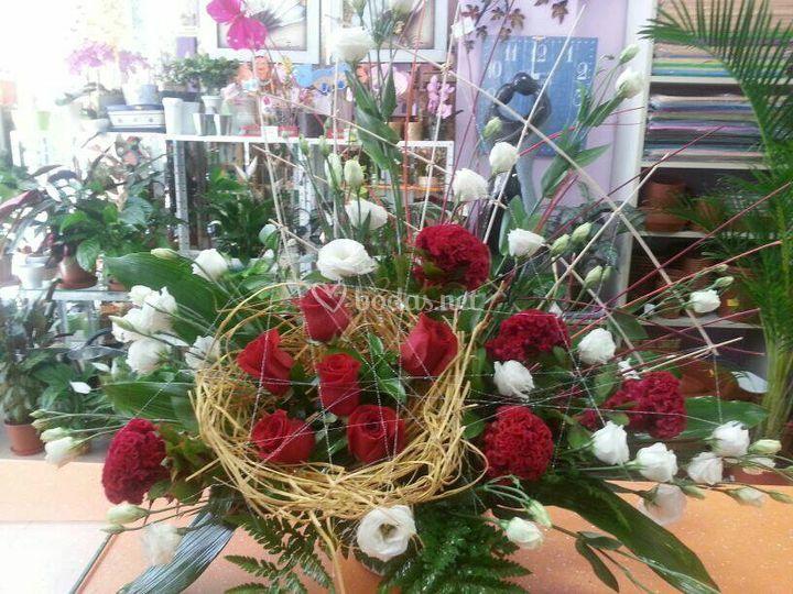 Centro abanico de rosas