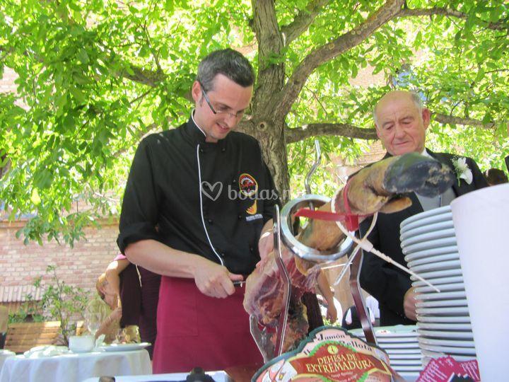 Corte de jamón para bodas