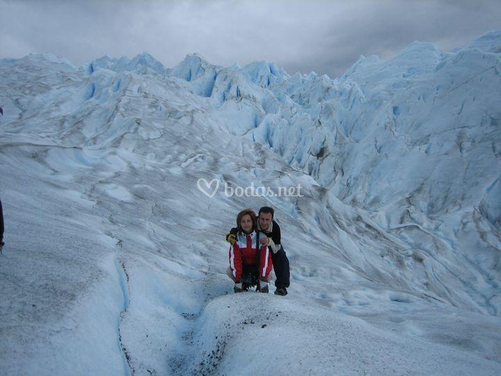 Glaciares con crampones