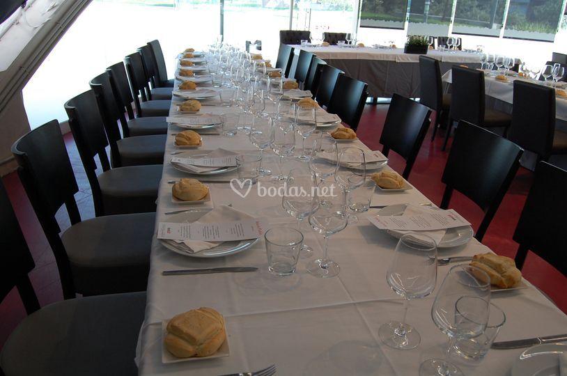 Disposición interior de mesa