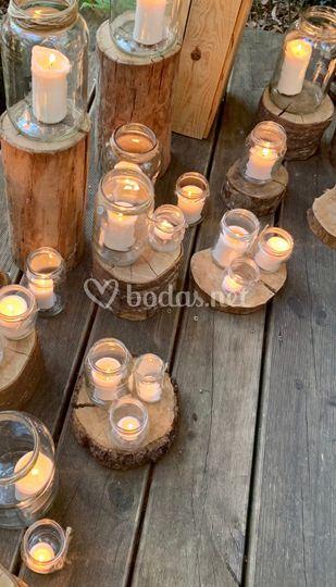 Velas y madera