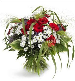 Bouquet blanco y rojo