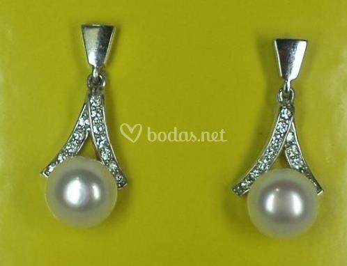 Pendientes serie Campana con perla cultivada