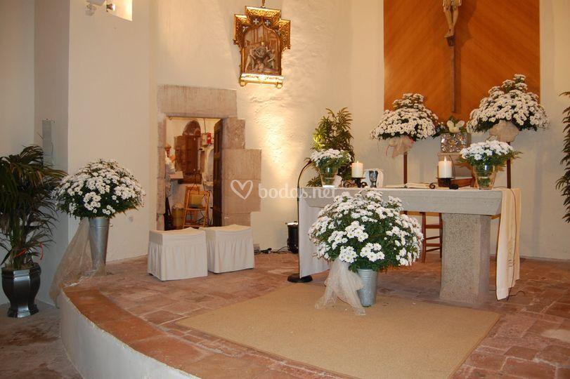 Flores en la iglesia