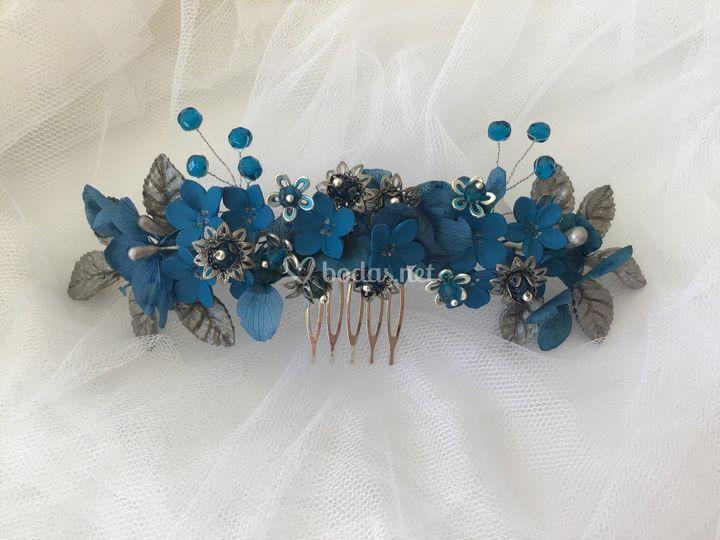Tocado joya azul y plata