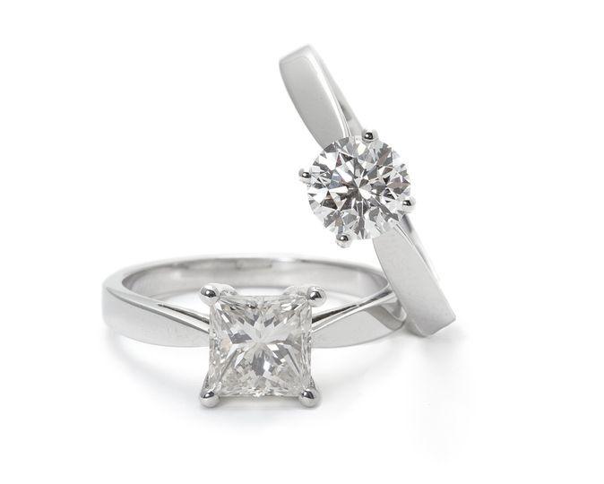 Solitarios oro blanco y diamantes
