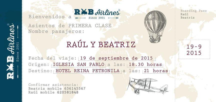 Invitación, boda de Raúl y Bea