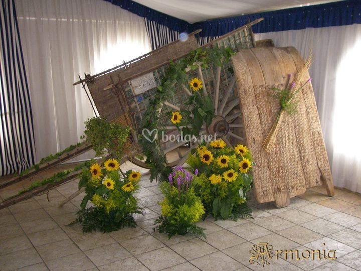 Decoración boda civil con girasoles