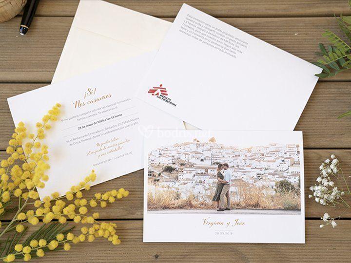 Invitación con foto horizontal