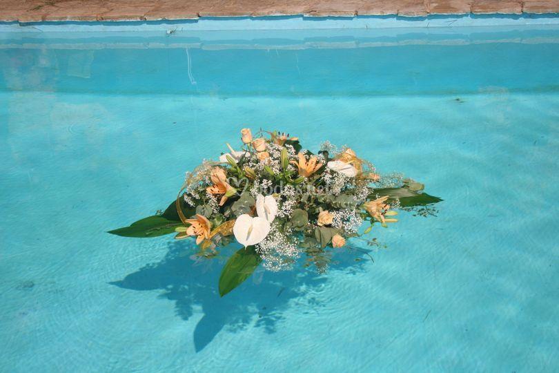 Centros flotantes en piscina