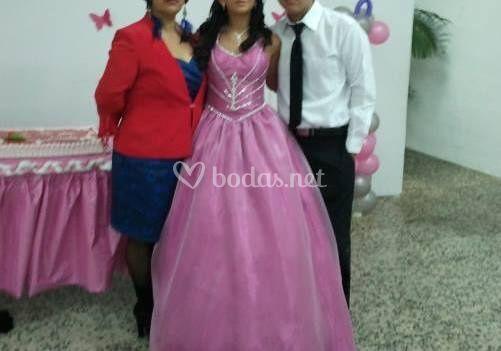 Vestido de fiesta en rosa