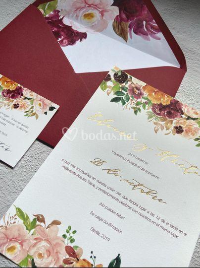 Floral Garnet con foil dorado